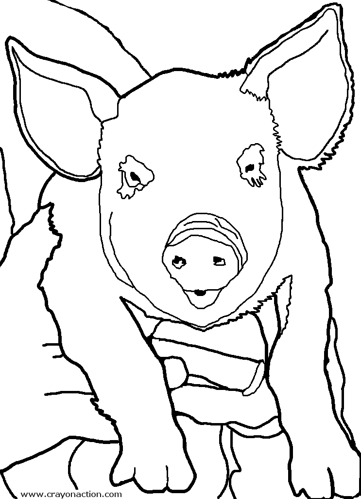 743x1025 Pig Coloring Page Crayon Action Coloring Pages