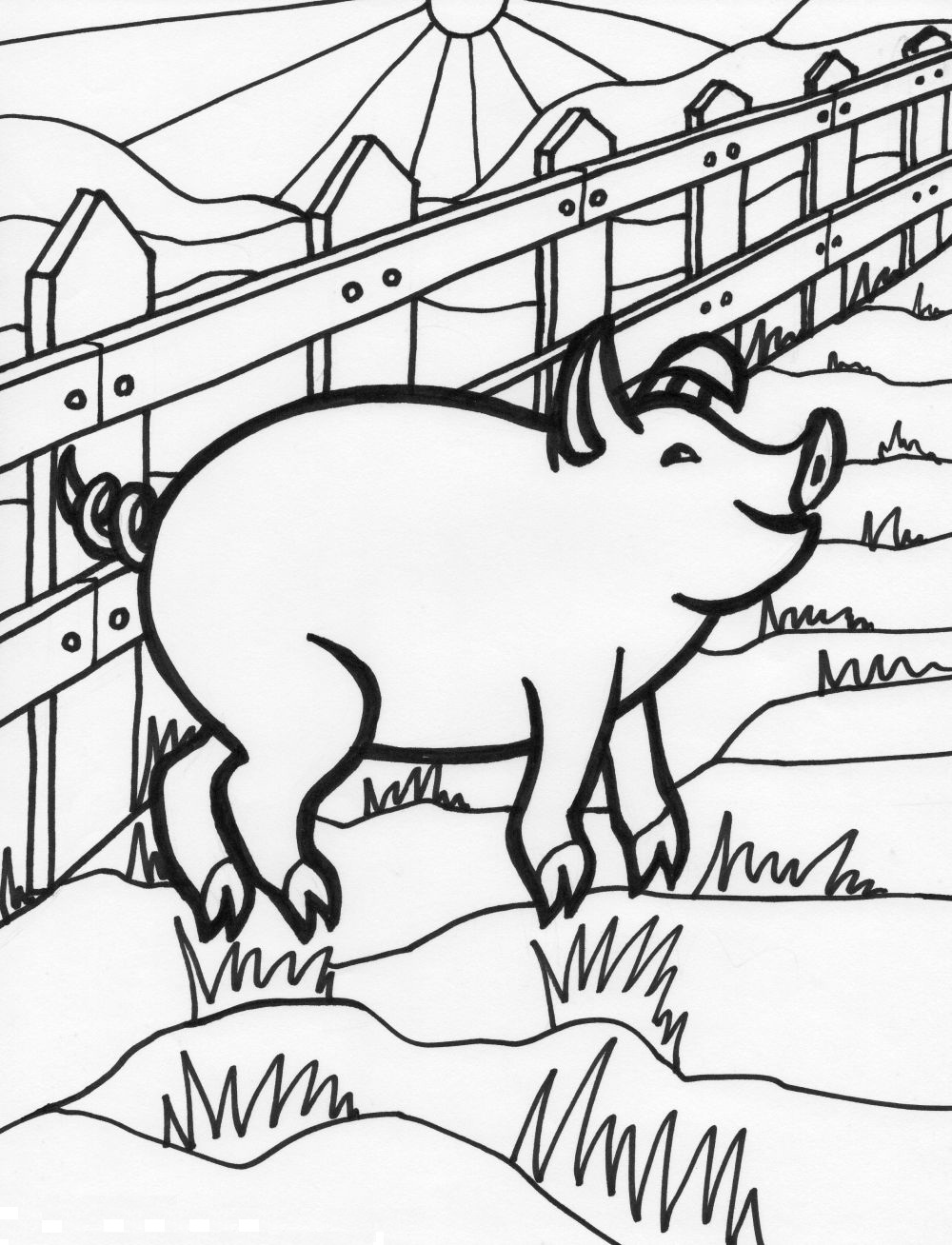 1000x1308 Pig Coloring Pages