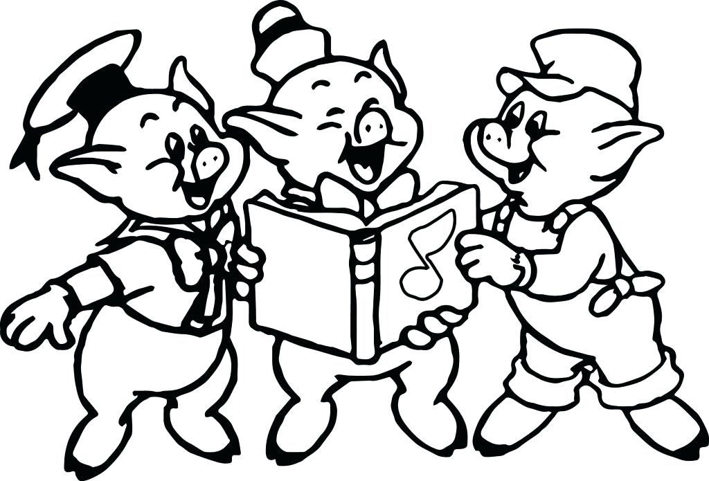 1024x695 Coloring Pages Three Little Pigs Coloring Pages Music Book Page