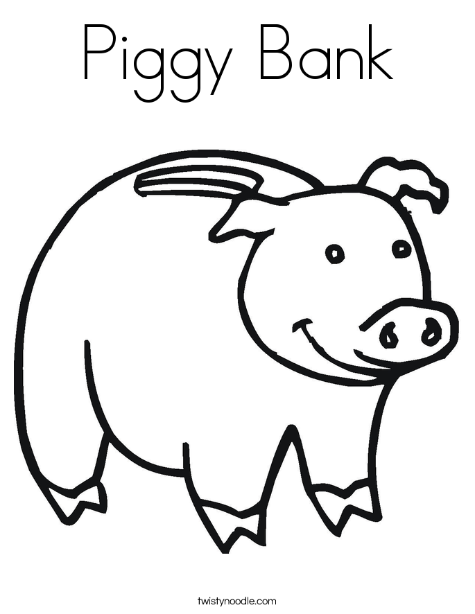 685x886 Piggy Bank Coloring Page