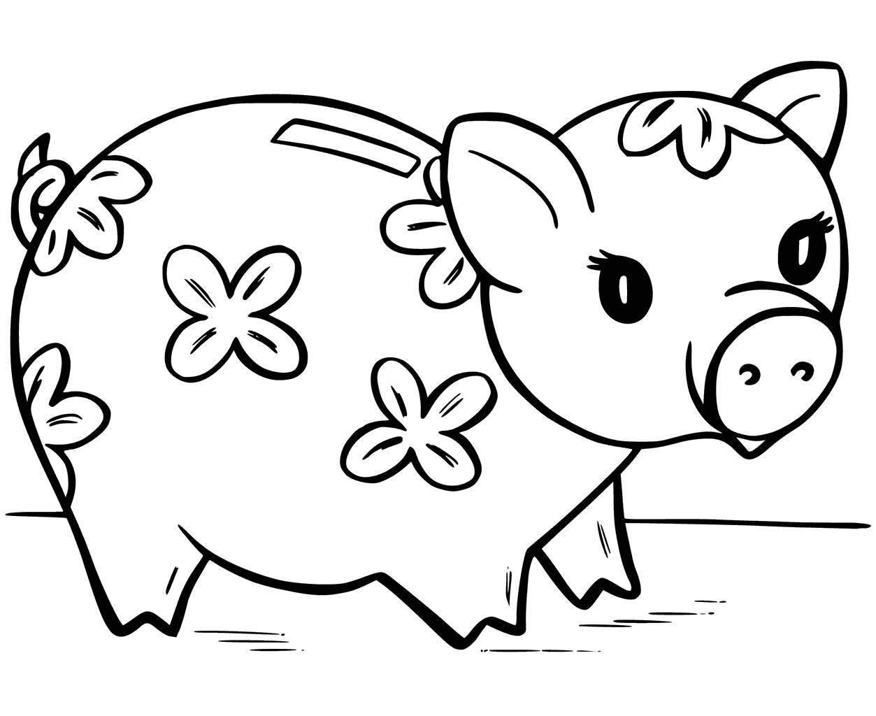 1253x1024 Cute Piggy Bank Coloring Page