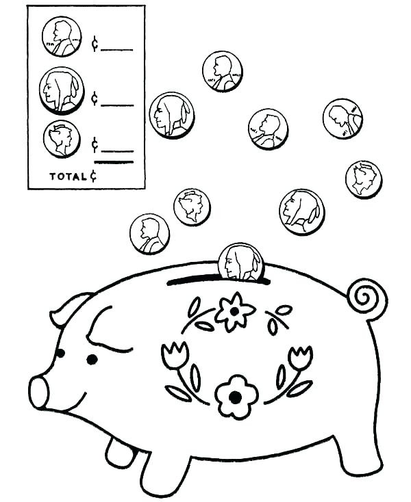 600x734 Coin Coloring Page