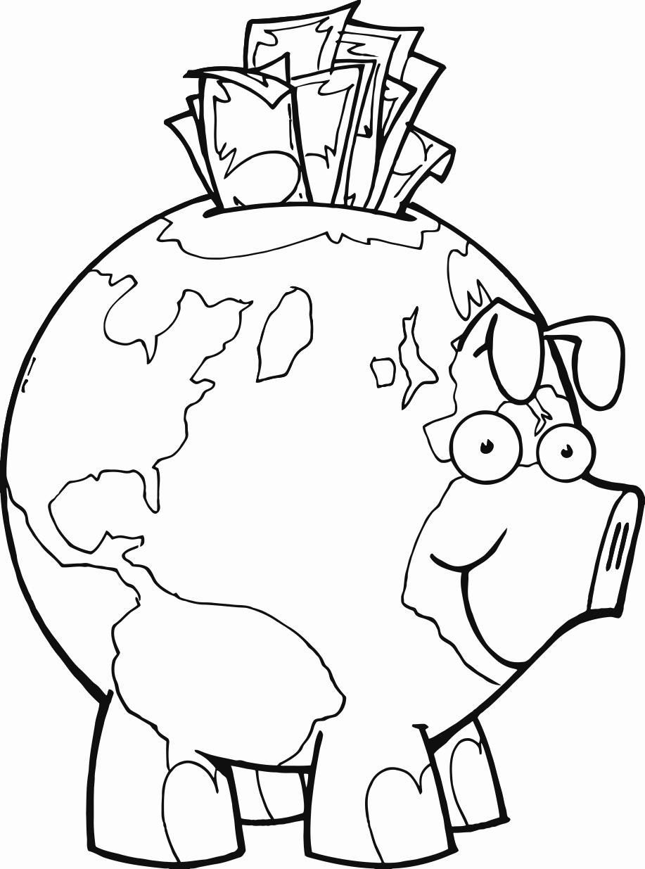 917x1235 Earth Piggy Bank Printable Image Illustration Sketch For Earth