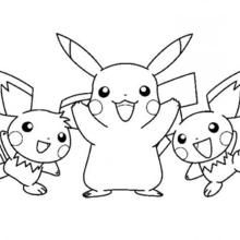 220x220 Pikachu And Friends Coloring Page Pokemon Ideas Dibujo