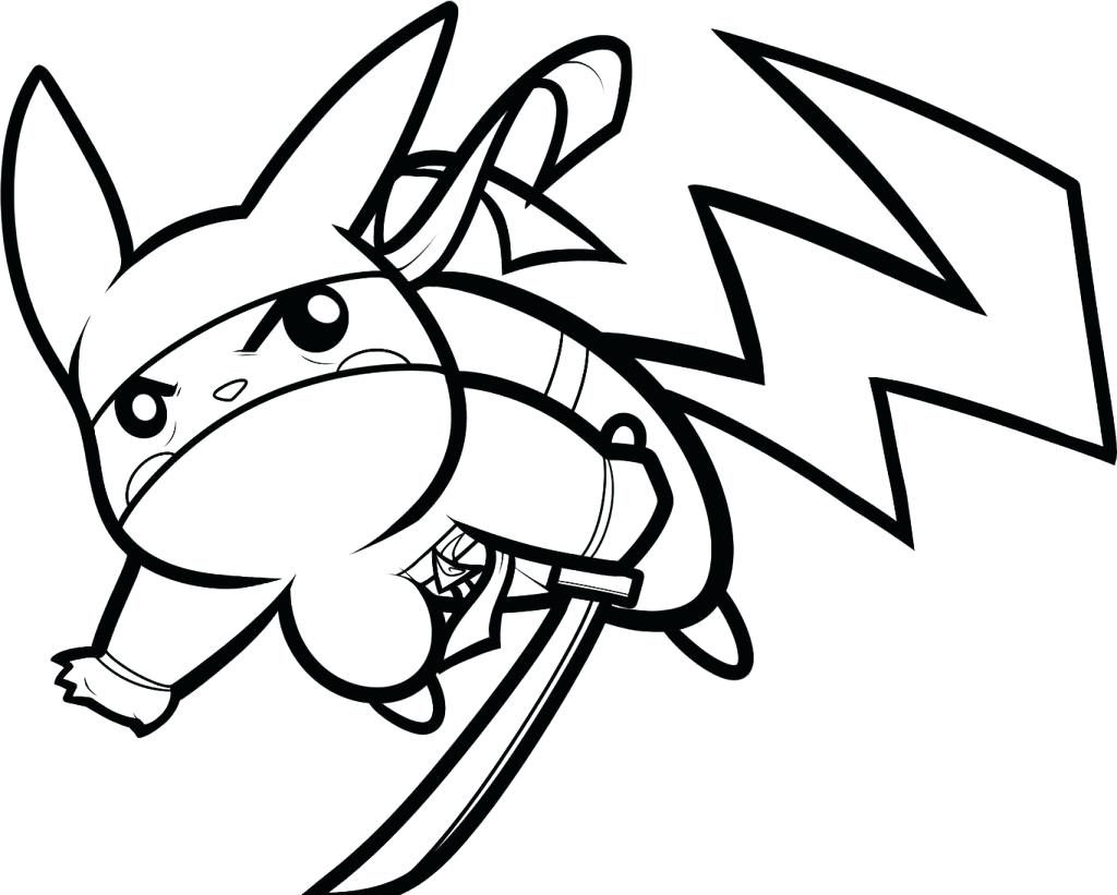 1024x821 Coloring Pages Pikachu Coloring Page Ninja Picture