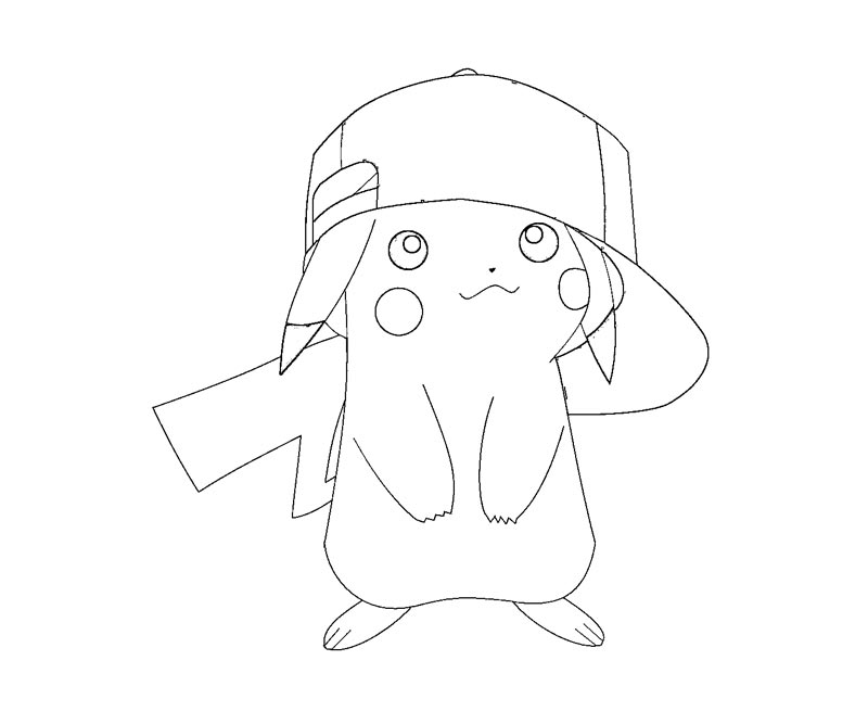 pikachu with hat coloring pages - photo#12