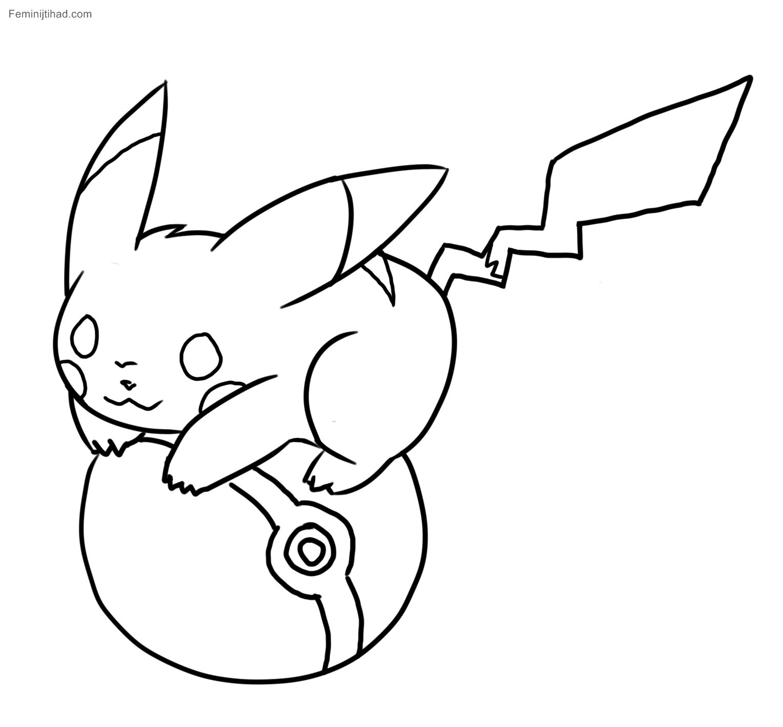 1528x1418 Pikachu With Hat Coloring Pages