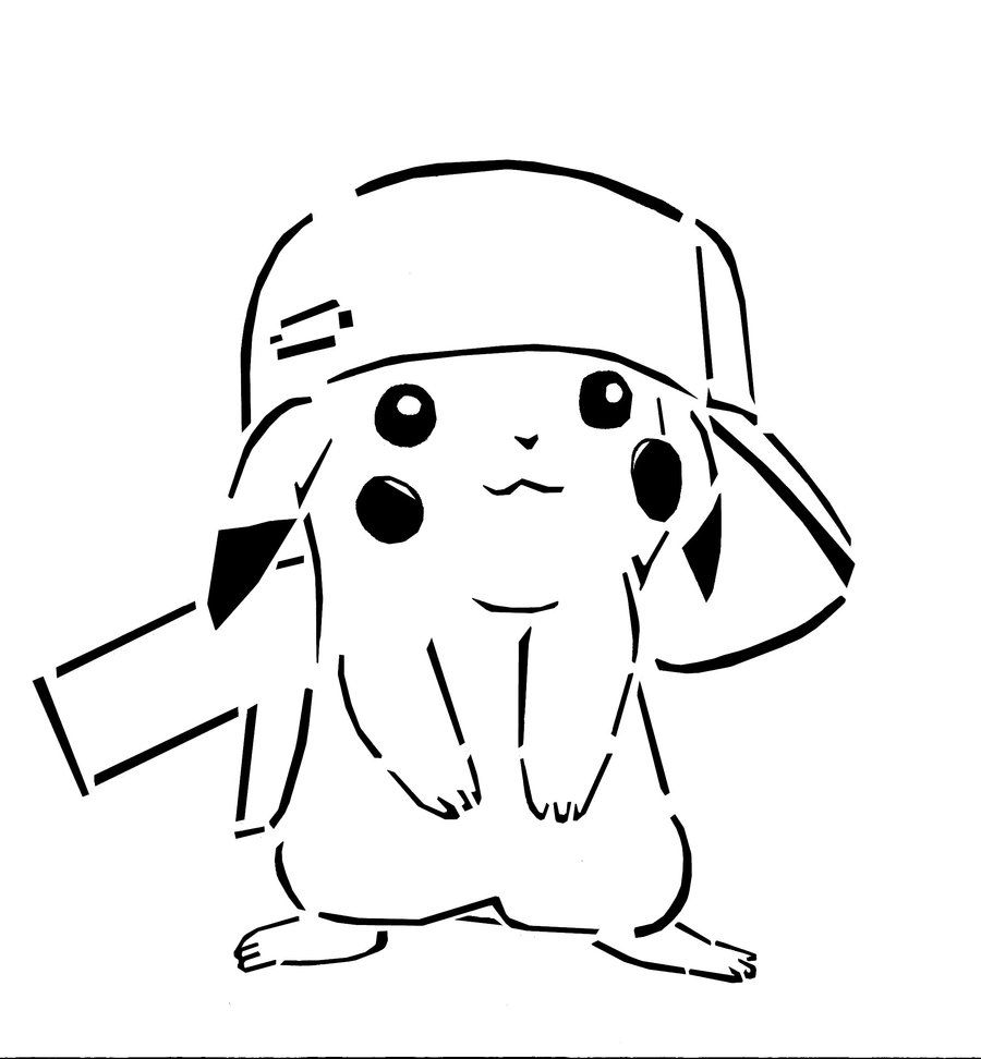 900x972 Pikachu With Hat Coloring Pages