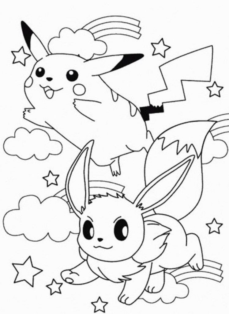 748x1024 Coloring Pichu Pages Pikachu And General Of Mega Pokemon Ash Free