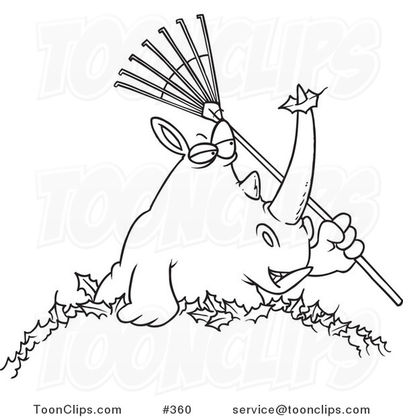 581x600 Cartoon Coloring Page Line Art Of A Rhino Holding A Rake In A Pile