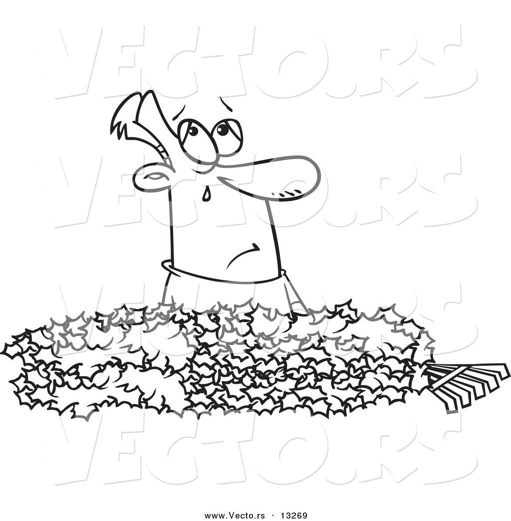 1024x1044 Amazing Vector Of A Cartoon Man Crying In Pile Autumn Leaves