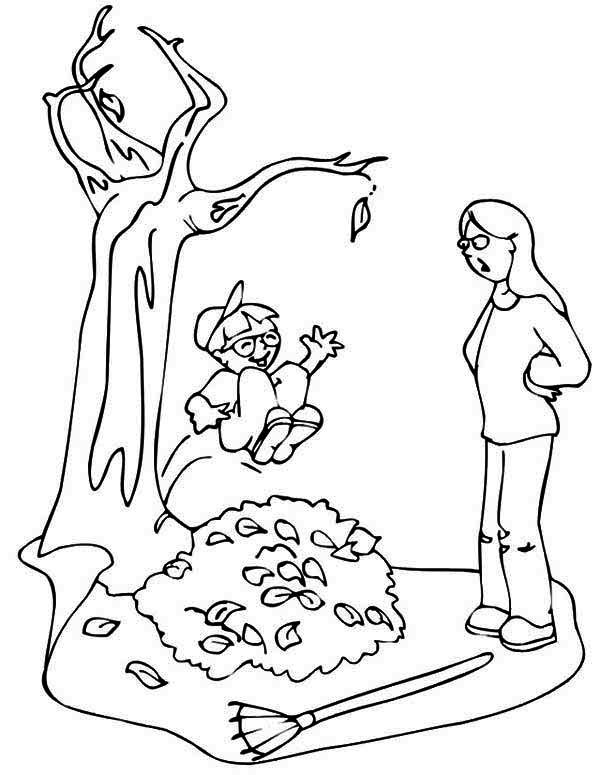 600x775 Kid Jumping To Pile Of Fall Leaf Coloring Page