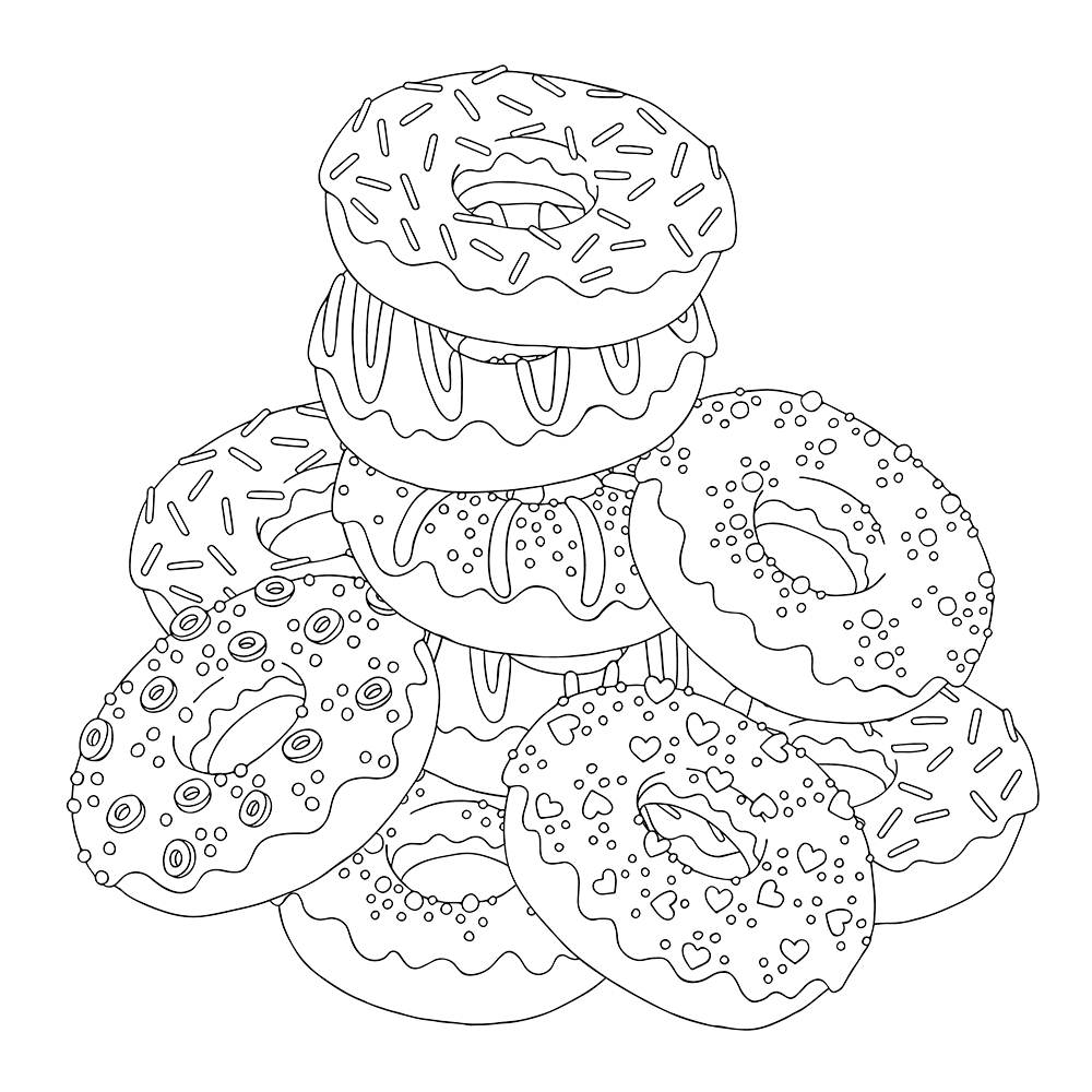 1000x1000 Pile Of Donuts Free Coloring Page Adults, Food, General Coloring
