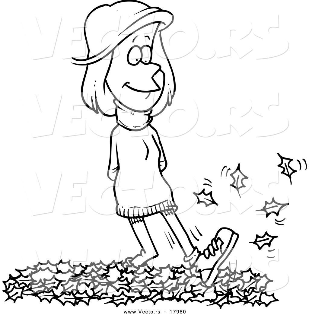 1024x1044 Vector Of A Cartoon Woman Walking In Leaves