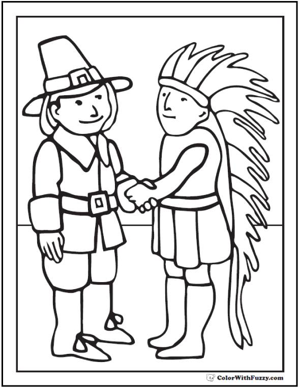 Pilgrim And Indian Coloring Pages
