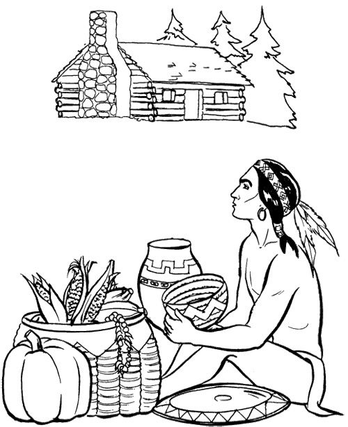 Pilgrim And Indian Coloring Pages Thanksgiving