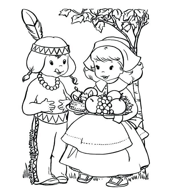 600x686 Pilgrim Indian Coloring Pages Thanksgiving Pilgrim