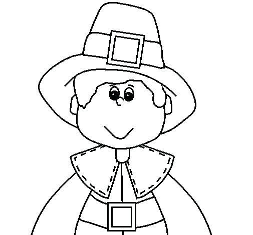 505x470 Pilgrim Coloring Page