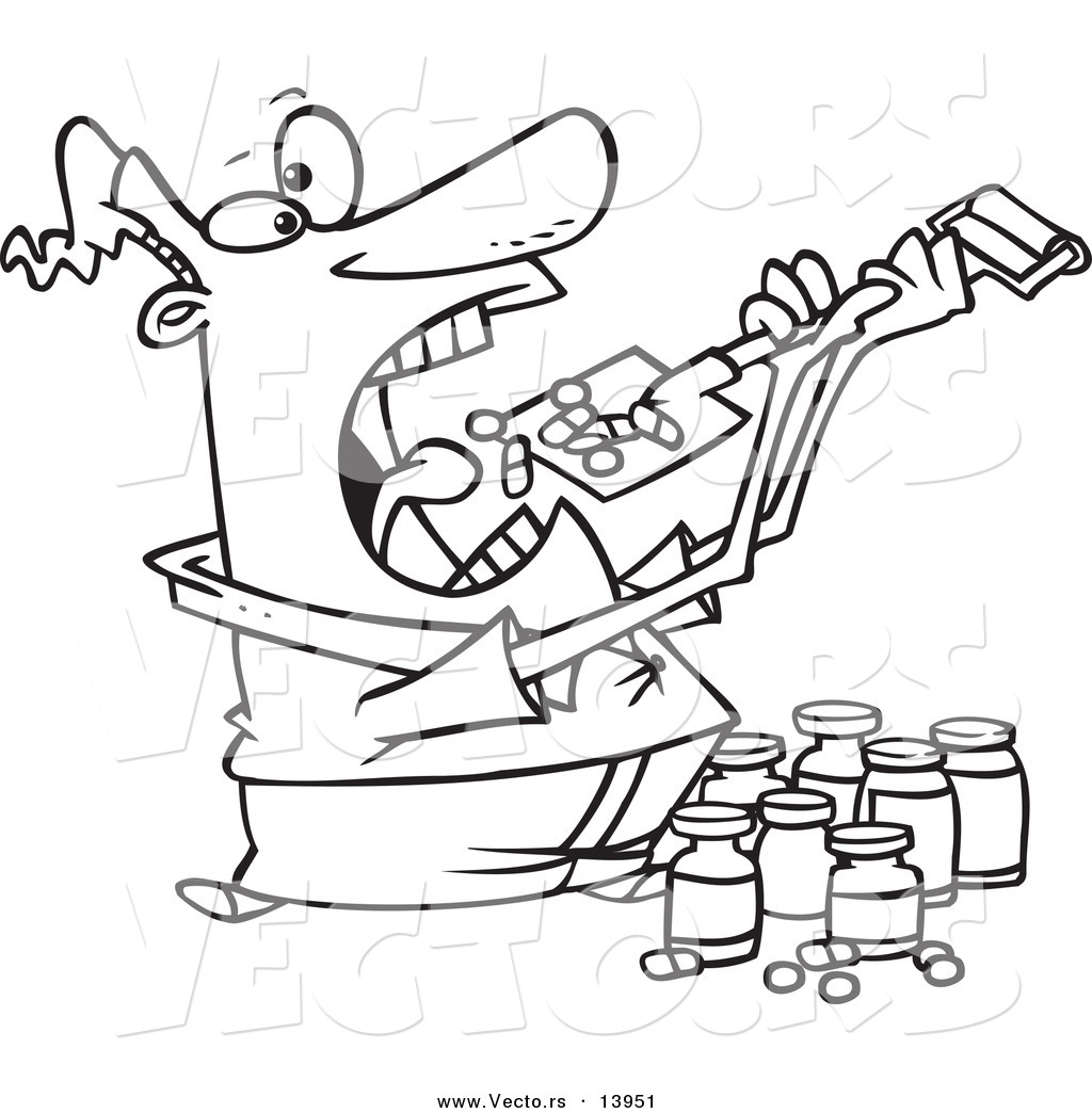 1024x1044 Vector Of A Cartoon Man Shoveling Dietary Supplements Into His