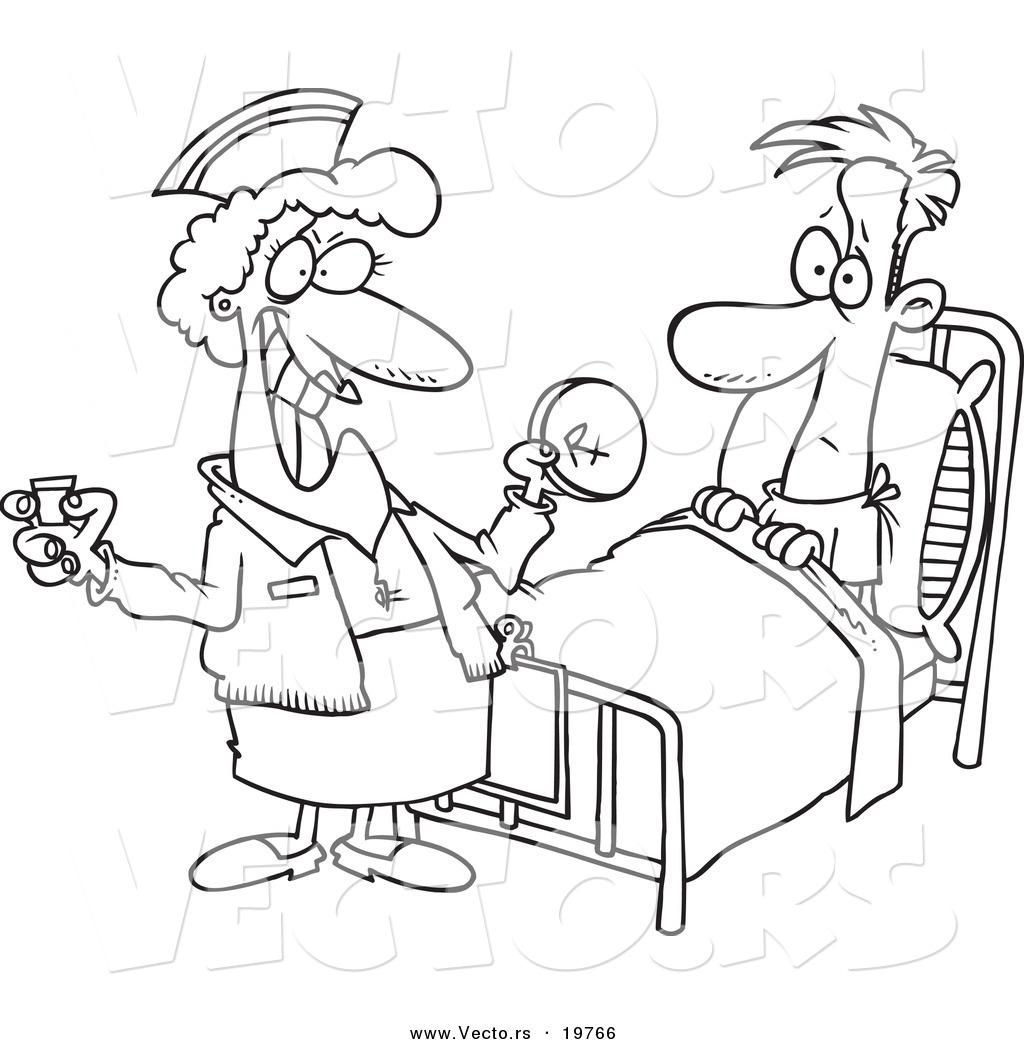 1024x1044 Vector Of A Cartoon Nurse Giving A Patient Medication