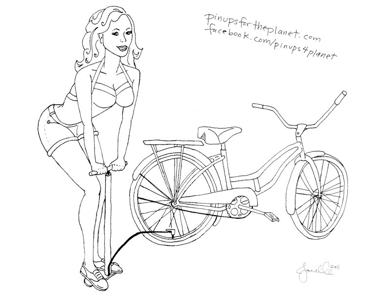 781x603 Pin Up Girl Coloring Bicycle Page Ups For The Planet