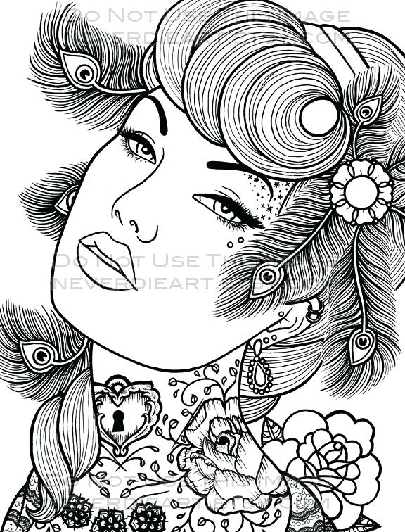 576x756 Pin Up Girl Coloring Pages Beyond The Educational Virtues Coloring