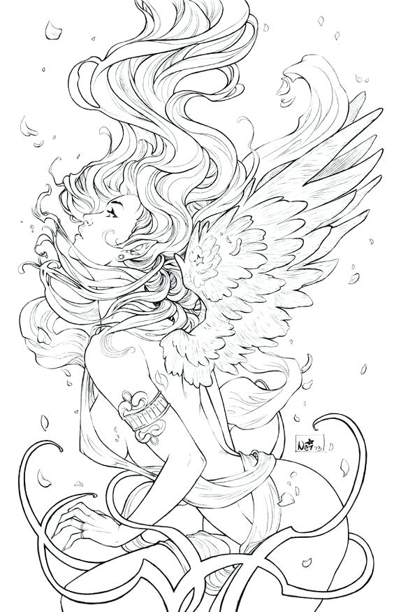 564x875 Pin Up Girl Coloring Pages Printable Adult Page Of Angels Kids