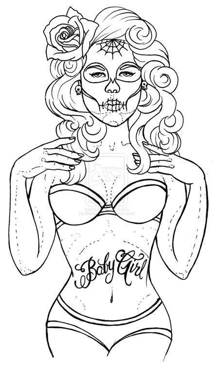 438x750 Pin Up Girl Coloring Pages
