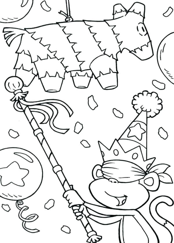 600x840 New Year Pinata Colouring Page Mexican Coloring Murs