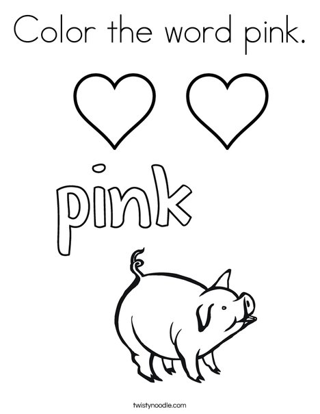 468x605 Color The Word Pink Coloring Page
