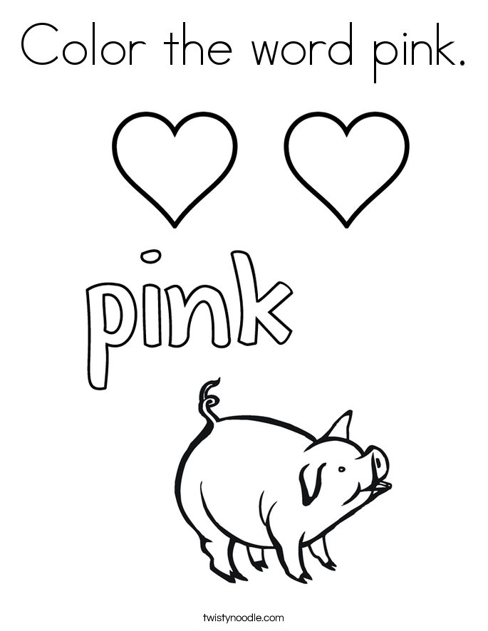 685x886 Color The Word Pink Coloring Page