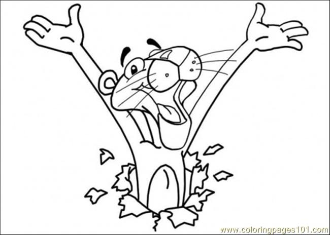 650x464 Here Comes Pink Panther Coloring Page