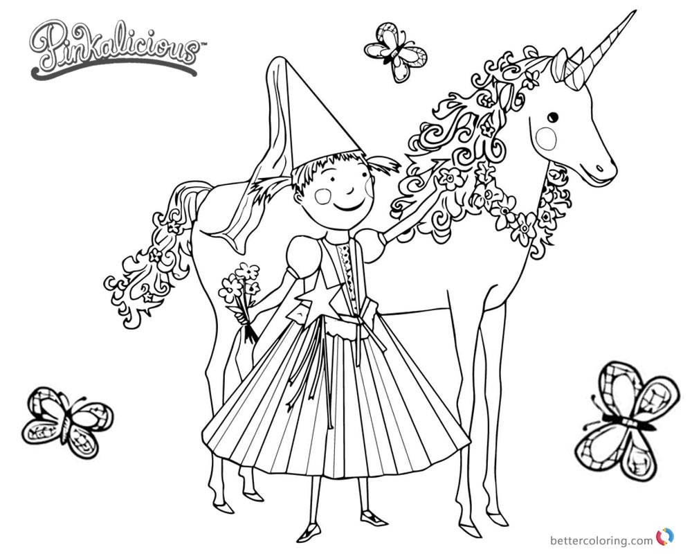 1000x800 Pinkalicious Coloring Pages Unicorn And Butterflies