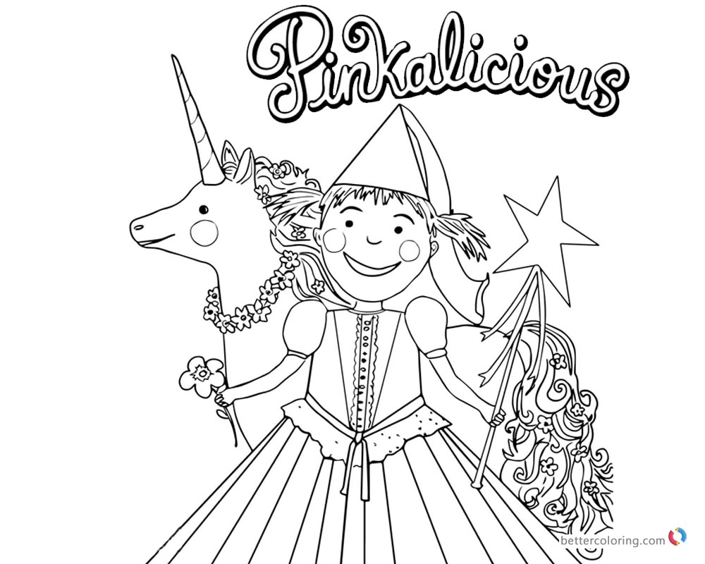 1000x800 Pinkalicious Coloring Pages With Flower And Unicorn