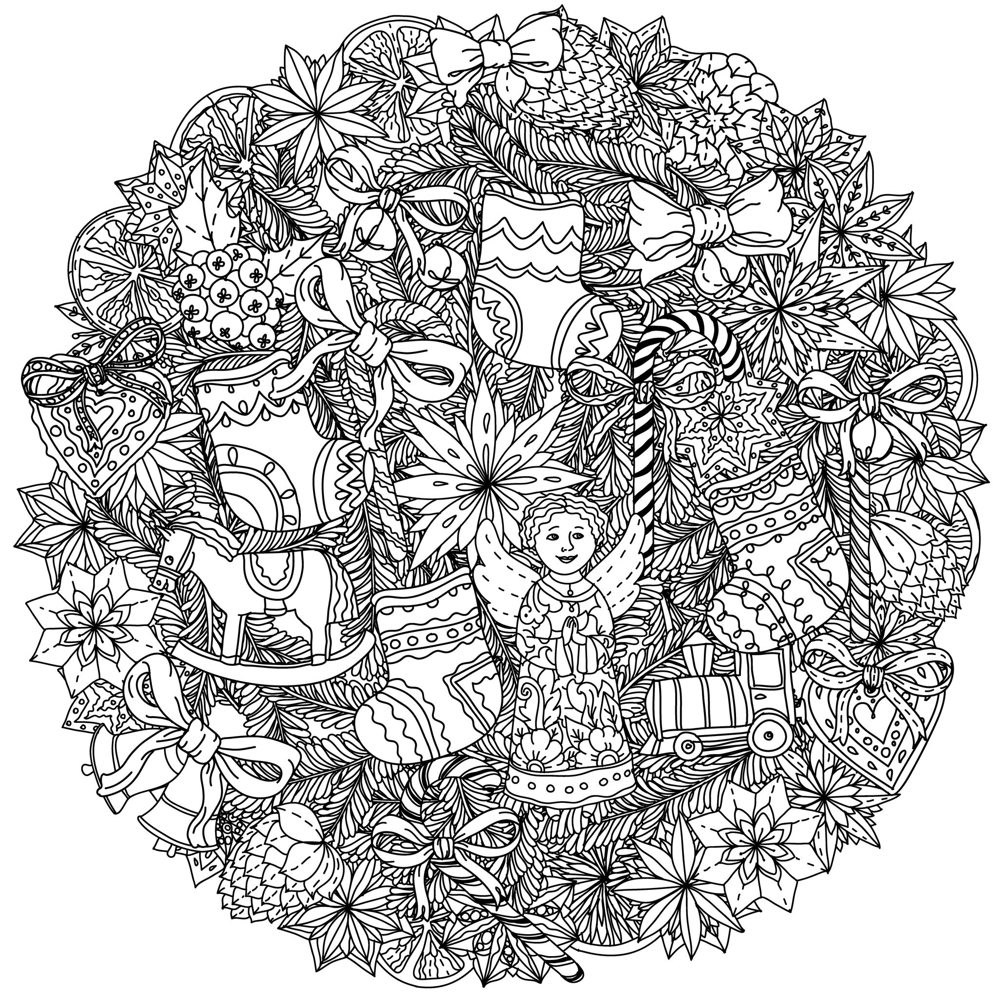 2048x2048 Christmas Coloring Pages For Adults Christmas