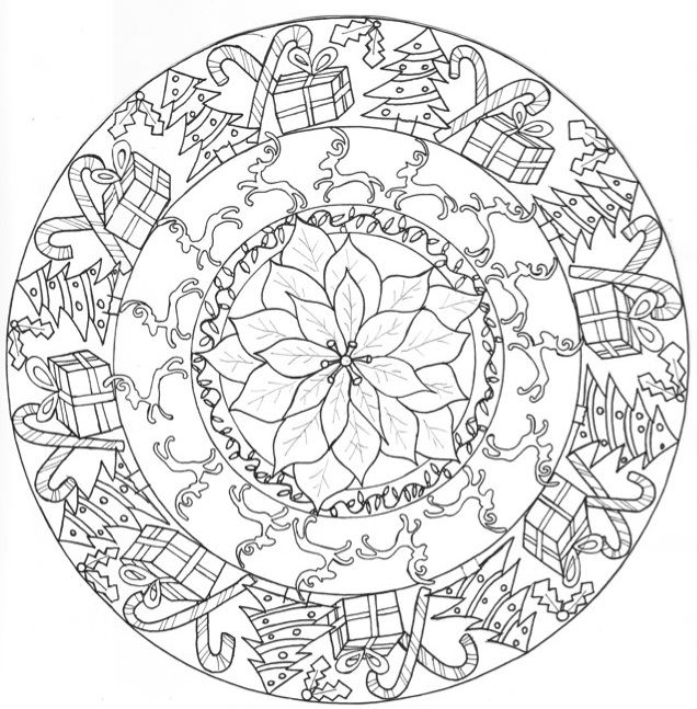 636x647 Christmas Mandala Coloring Pages Printable Best Christmas