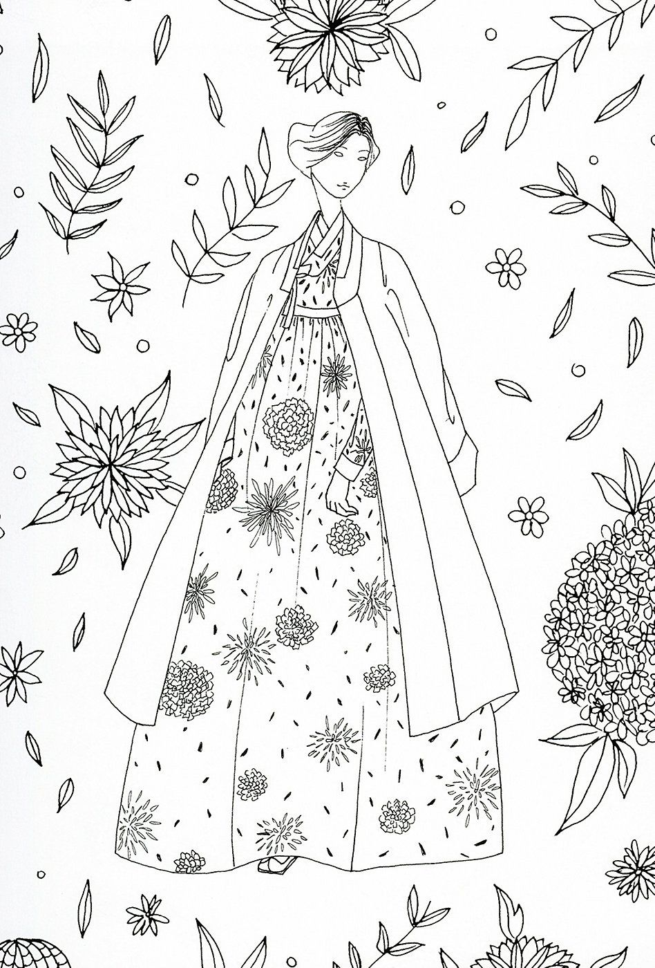948x1400 Odd Korean Hanbok Coloring Pages Adult Page Ja