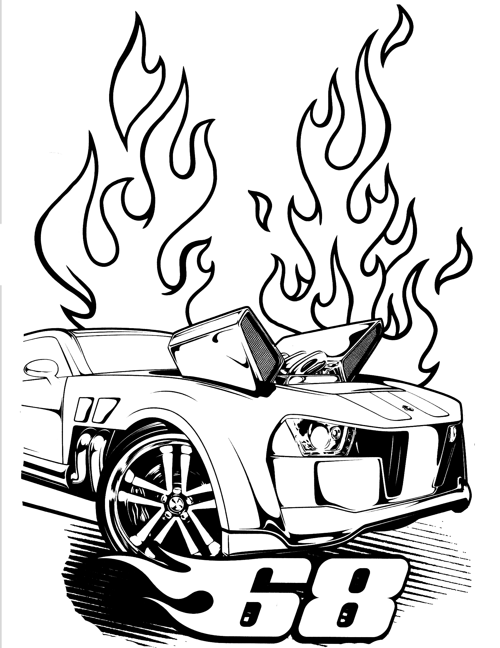 1700x2200 New Team Hot Wheels Coloring Pages School Free
