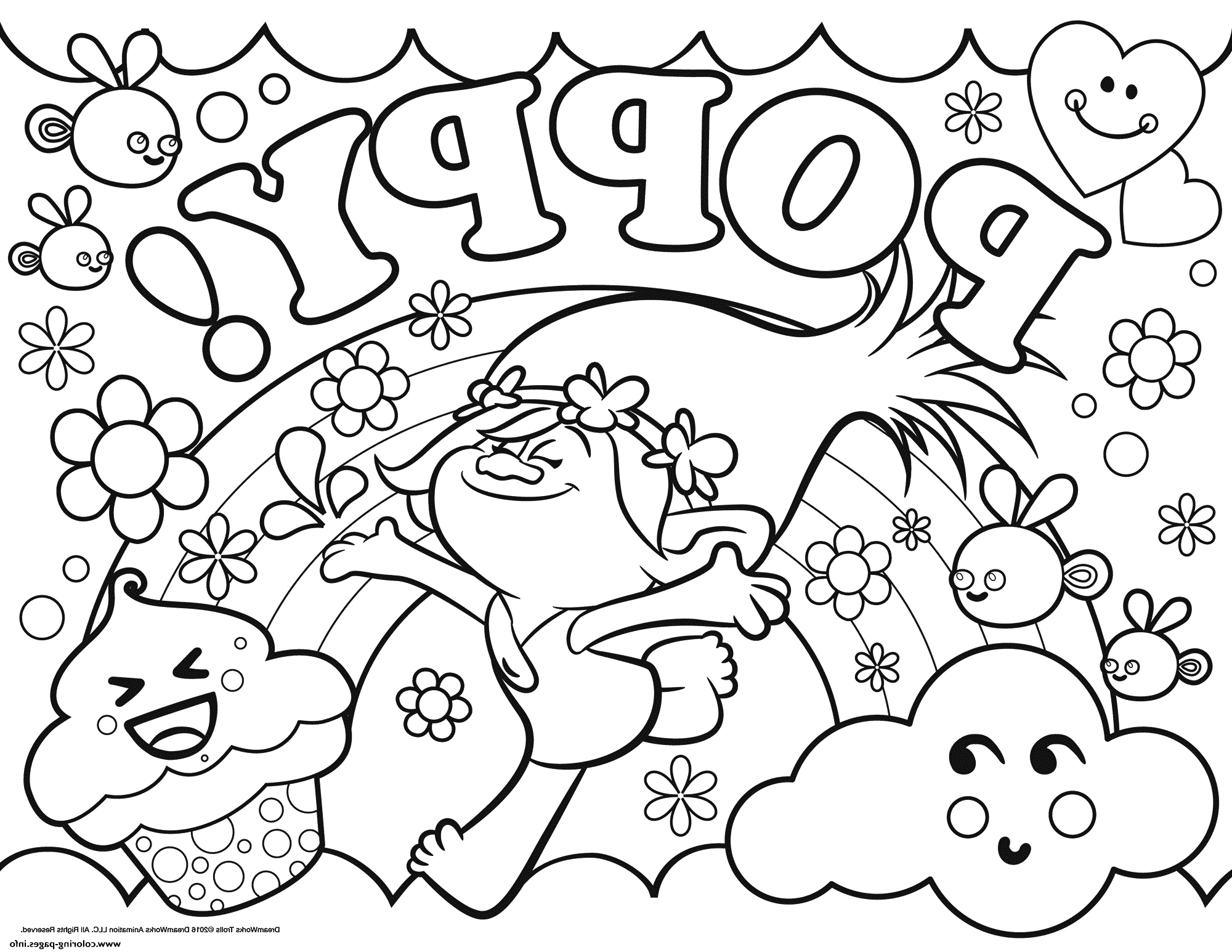 2000x1545 Trolls Coloring Pages Poppy Free Printable