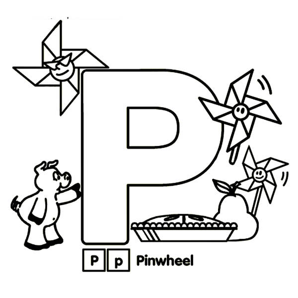 600x600 Kindergarden Kids Learn Letter P Coloring Page Coloring Sun