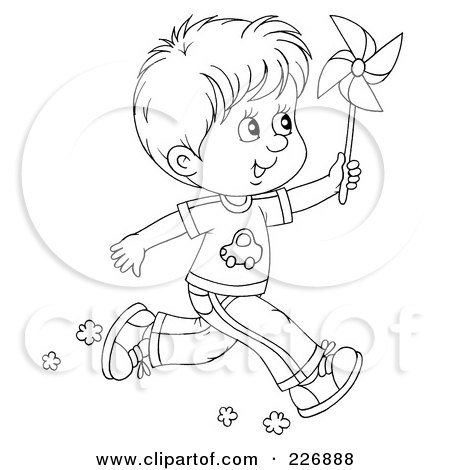 450x470 Coloring Page Outline Of A Boy Running With A Pinwheel Posters