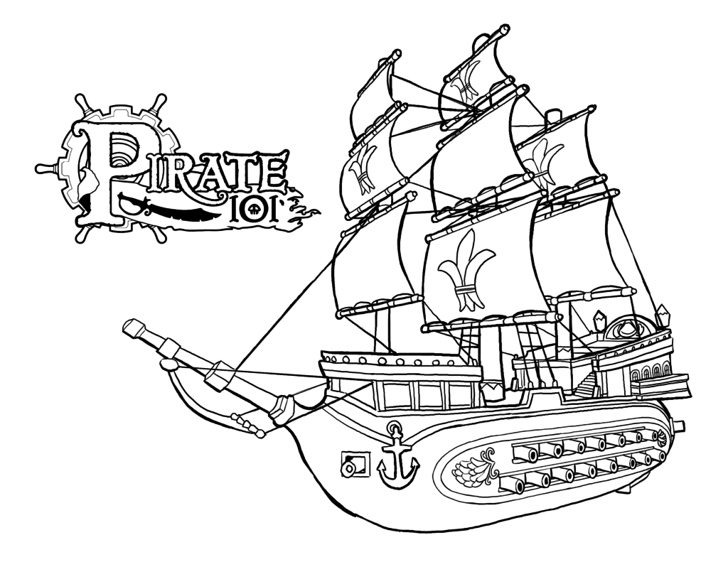 1024x791 Happy Pirate Ship Coloring Pages