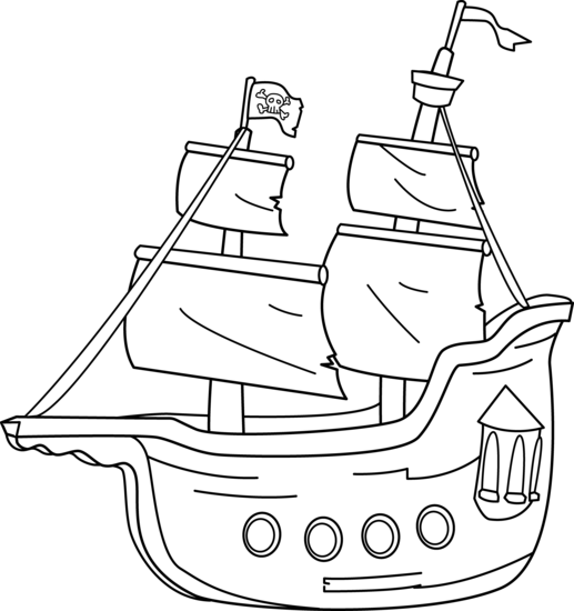 517x550 Pirate Ship Coloring Page