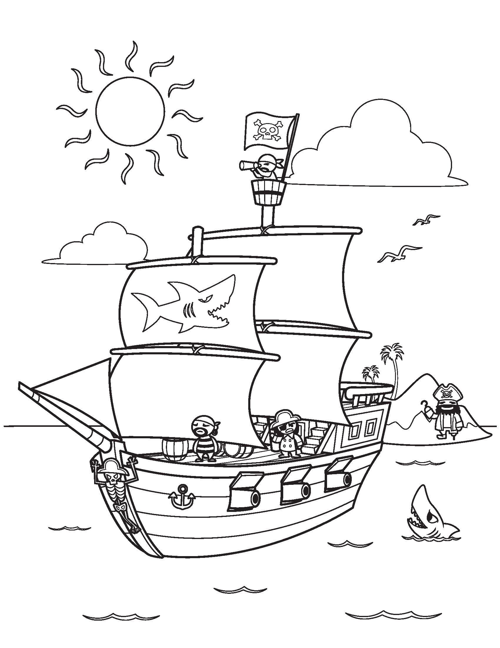 1700x2200 Pirate Ship Coloring Pages Free Download