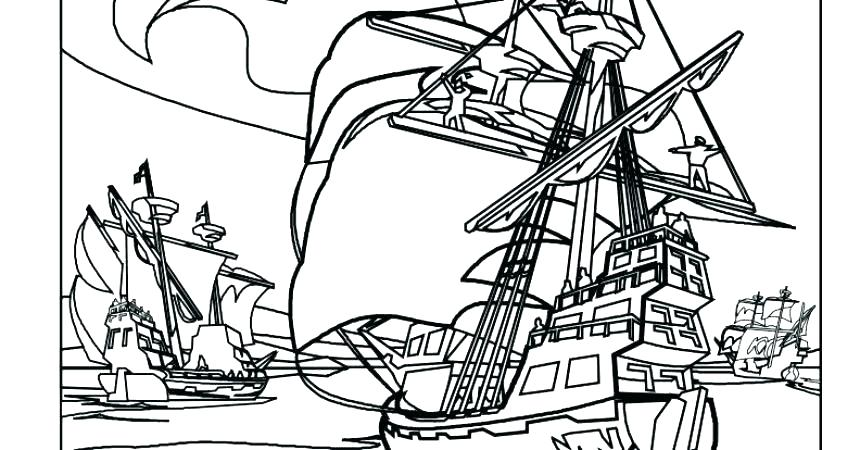 860x450 Big Pirate Ship Coloring Pages Printable Coloring Pirate Ship