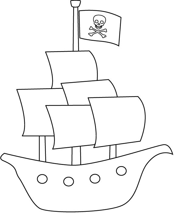 573x700 Pirate Ship Outline Coloring Page Free Download