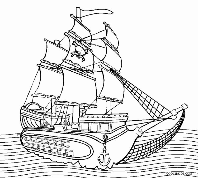 photo about Pirate Ship Template Printable named Pirate Boat Coloring Web site at No cost for