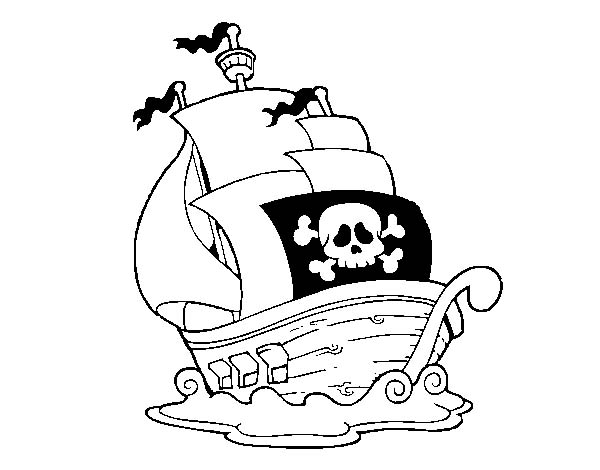 600x470 Simple Pirate Ship Galleon Drawing From The Rear Coloring Page