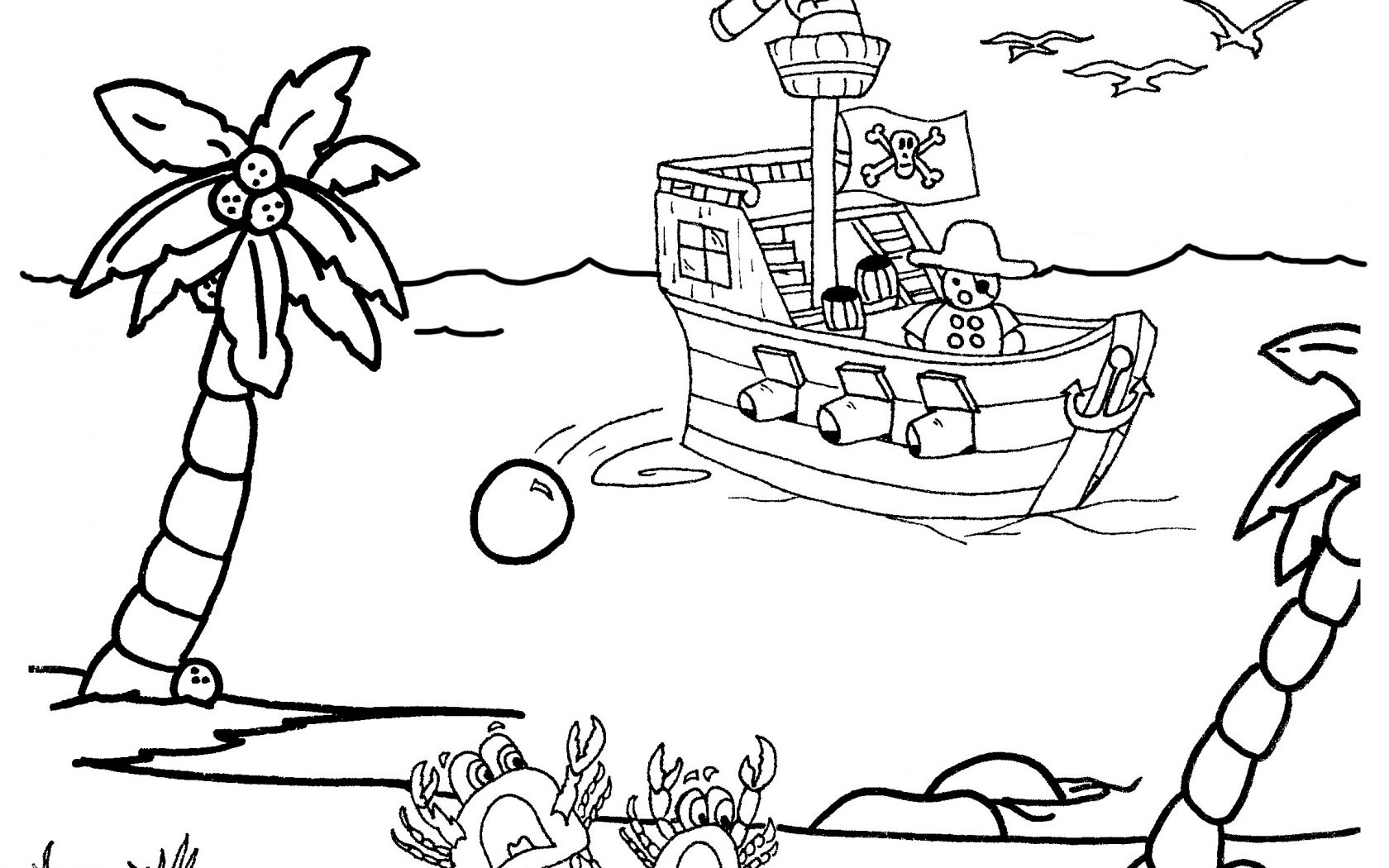 1680x1050 Coloring Pages Ship Pirates Ships For Kids Free