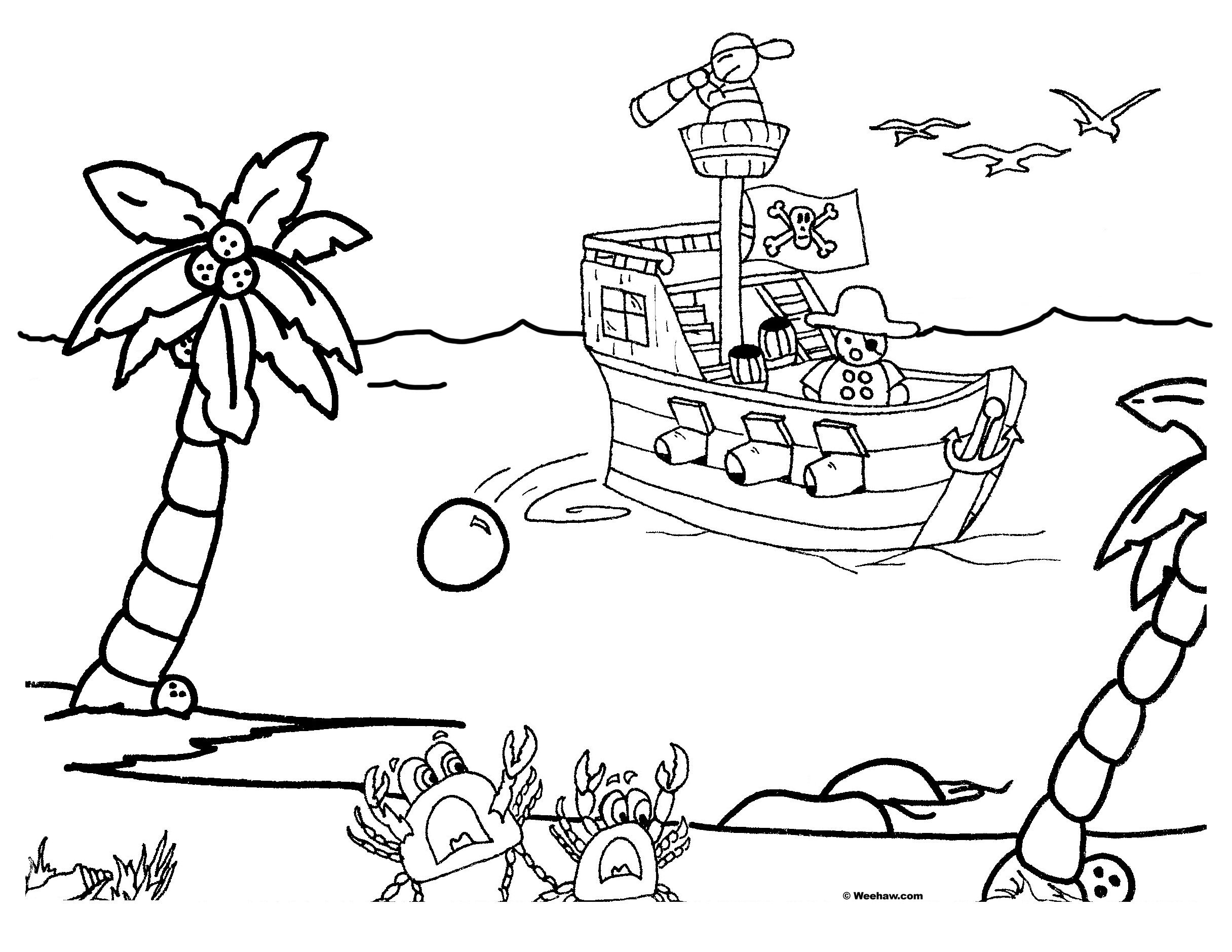 2432x1879 Coloring Pages Kids Pirate Ships, Free Credit